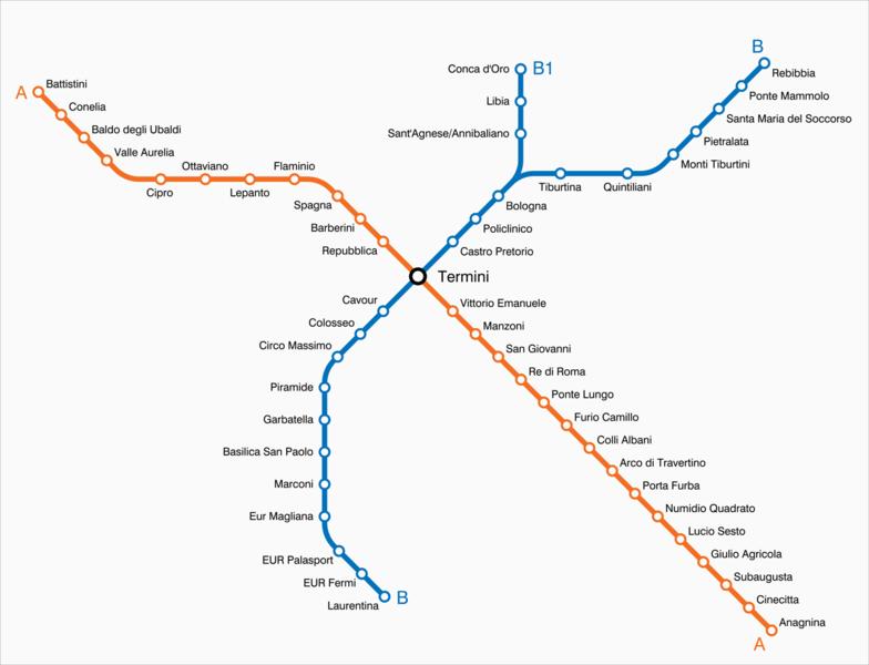 Карта римского метрополитена.